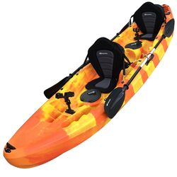 Double Fishing Kayak Twin Sit-on Kayak with 6 Rod Holders, Padded Seats, Paddles (Orange Yellow) K2F