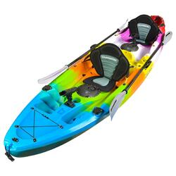 Fishing Kayak Double | Twin Kayak with 6 Rod Holders, Padded Seats, Rainbow