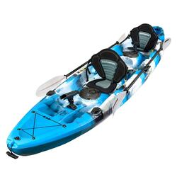 Fishing Kayak Double | Twin Kayak with 6 Rod Holders, Padded Seats, Blue Lagoon