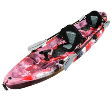 Double Fishing Kayak Twin Kayak with 6 Rod Holders, Padded Seats, Paddles (Red Camo)