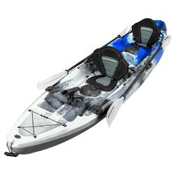 Fishing Kayak Double | Twin Sit-on Kayak with 6 Rod Holders, Padded Seats, Blue