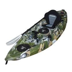 Fishing Kayak Sit-on Kayak with 5 Rod Holders Luxury Padded Seat & Paddle (Camo)