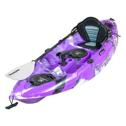 Fishing Kayak | Sit-on Kayak & 5 Rod Holders Padded Seat & Paddle (Purple Camo)