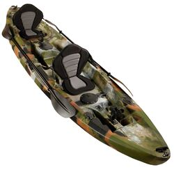 Fishing Kayak Double | Twin Kayak with 6 Rod Holders, Padded Seats, Jungle Camo