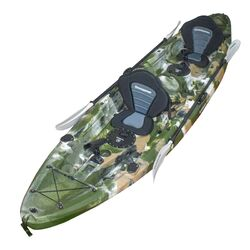 Double Fishing Kayak Twin Kayak with 6 Rod Holders, Padded Seats, Paddles JUNGLE