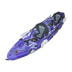 Double Fishing Kayak | Twin  Kayak with 6 Rod Holders, Padded Seats, Purple Camo