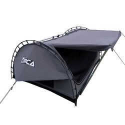 Orca Outdoors - Deluxe Double Size Canvas Swag with 70mm Mattress and Awning Poles - Grey