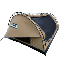 Orca Outdoors - Deluxe Double Size Canvas Swag with 70mm Mattress and Awning Poles - Sand